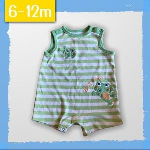Cotton tank style romper with Frog detail - 6-12m